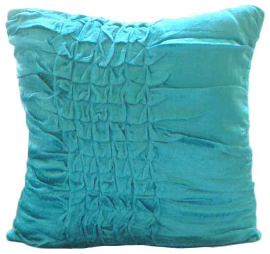 blue textured knotted 16x16 velvet pillows cover turquoise knots contemporary decorative - Turquoise Decorative Pillows