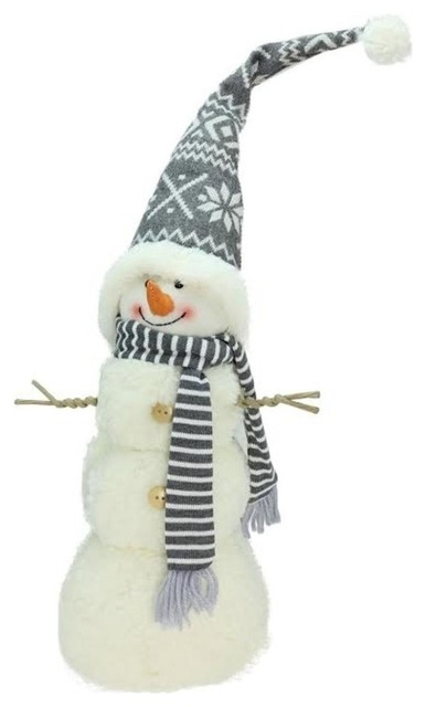 "Snowman With Gray And White Hat Christmas Tabletop Decoration, 21.5""."