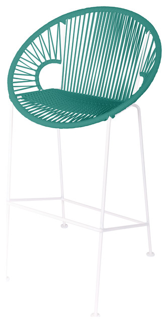 Puerto Counter Height Stool With White Frame, Turquoise Weave.