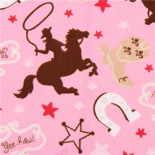 pink Cowboy Sheriff horse minky fabric fleece plush