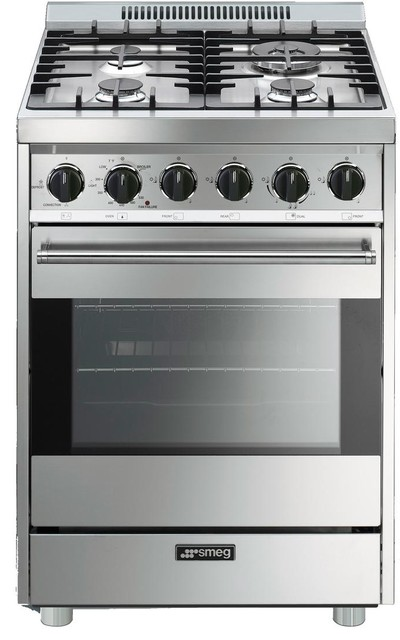 """Smeg 24"""" Freestanding Gas Range With 4 Burners, Stainless Steal."""