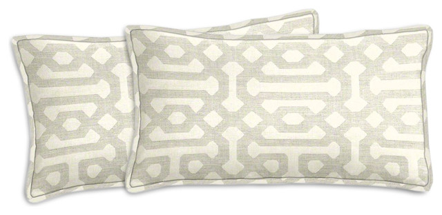 sunbrella fretwork pewter lumbar pillow set andpillows