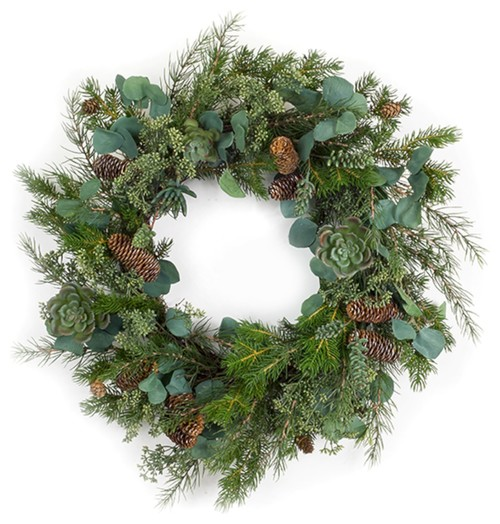 "Pine, Succulent and Eucalyptus Wreath, 26.5""D Plastic"