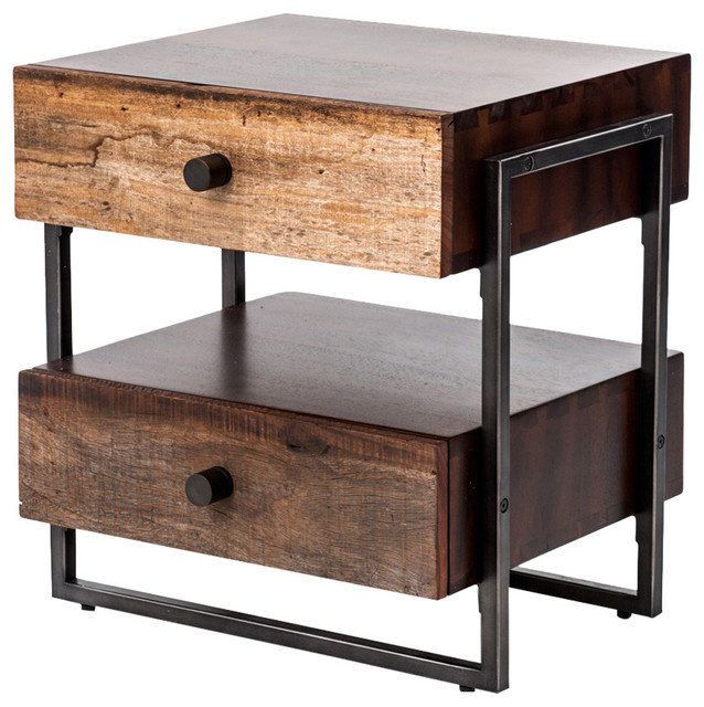 Alena Industrial Rustic Wood Steel Side Table Amp Reviews