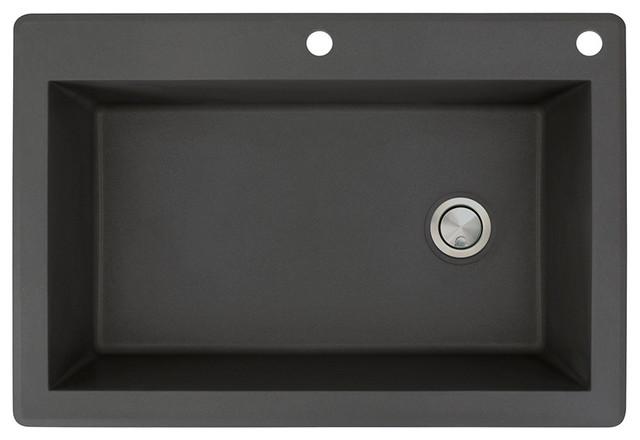 33-in x 22-in Drop-in Radius Granite Kitchen Sink in Black