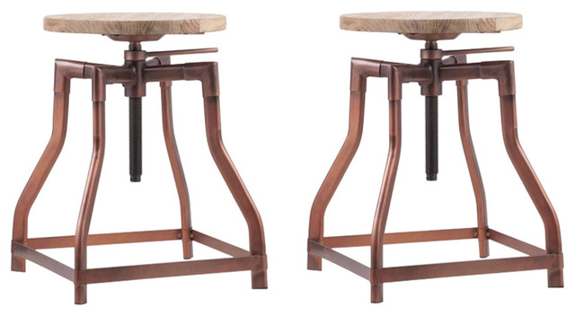 Adjustable Industrial Swivel Stool Wood Top, Antique Copper, Small, Set of 2