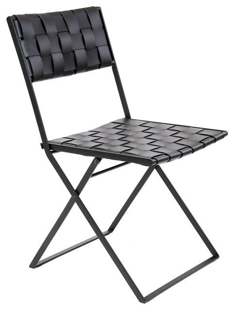 Lina Leather Folding Dining Chair, Black