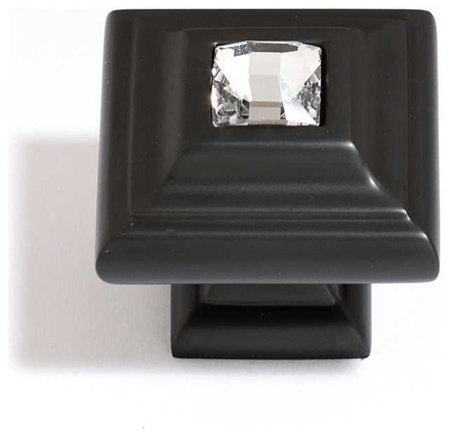 Alno Creations Clear Swarovski Crystal Small Pull Bronze C213-Clr/Brz - Traditional - Cabinet ...