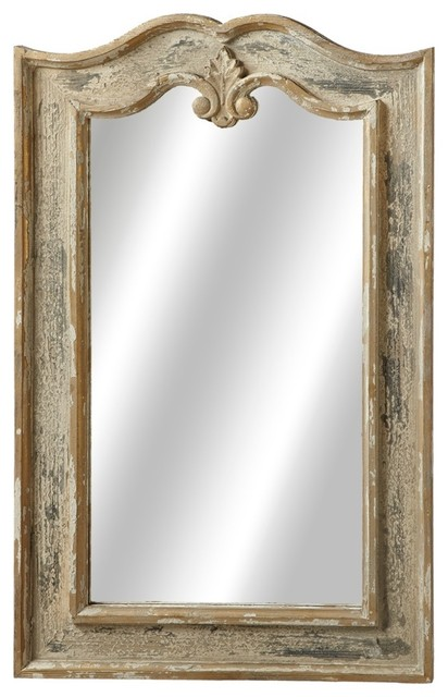 Curved Wall Mirror, Distressed Black.
