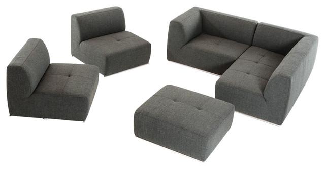 San Antonio Ultra Modern Modular Gray 5-Piece Fabric Sectional Sofa ...
