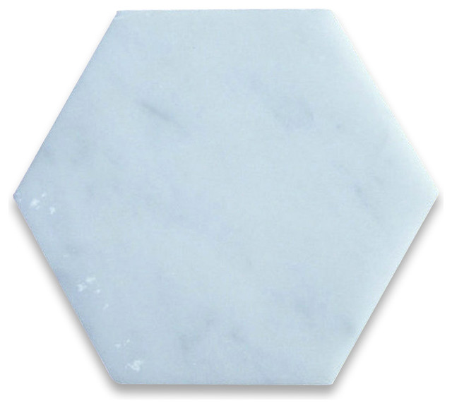 6x6 Carrara White Hexagon Tile Honed.