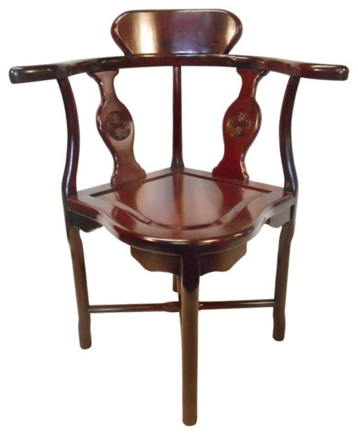 Rosewood Oriental Corner Chair Hand Carved Long Life Asian Armchairs And Accent