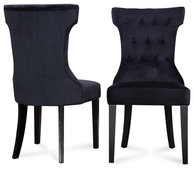 Parsons Elegant Tufted Upholstered Dining Chair, Set Of 2, Black.