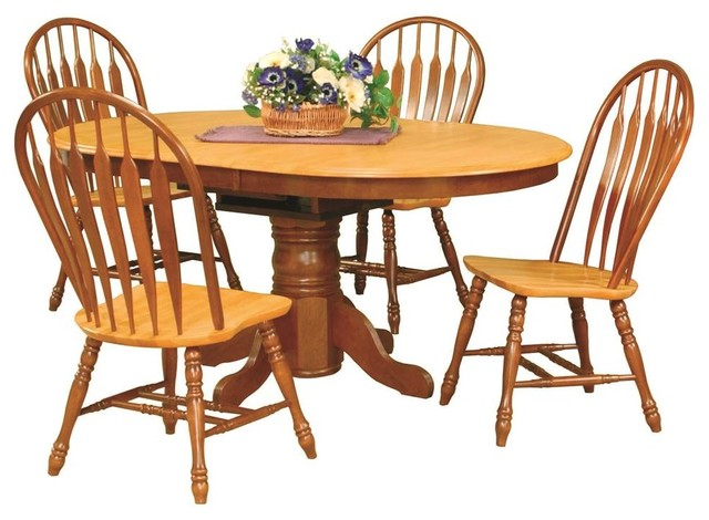 5-Piece Pedestal Dining Set With Comfort Back Chairs by Sunset Trading