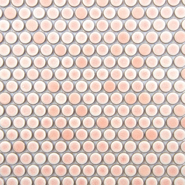 """12""""x12"""" Pink Penny Round Mosaic Tile"""