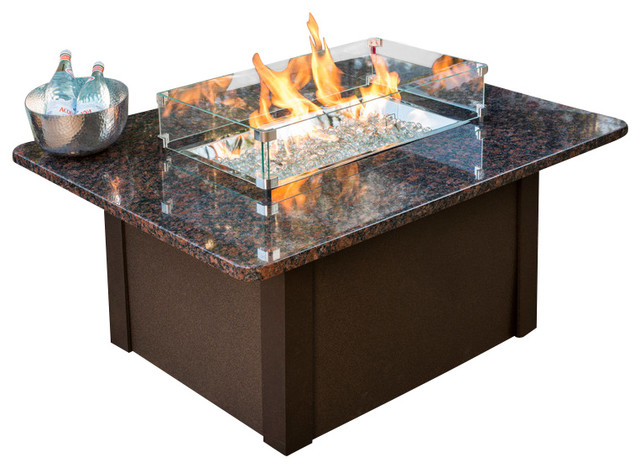 Outdoor Great Room Grandstone Fire Pit Table With British Copper Granite Top