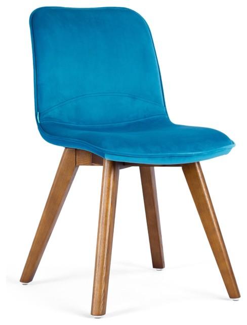 Basi Scandinavian Peacock Blue Dining Chair With Ash Legs
