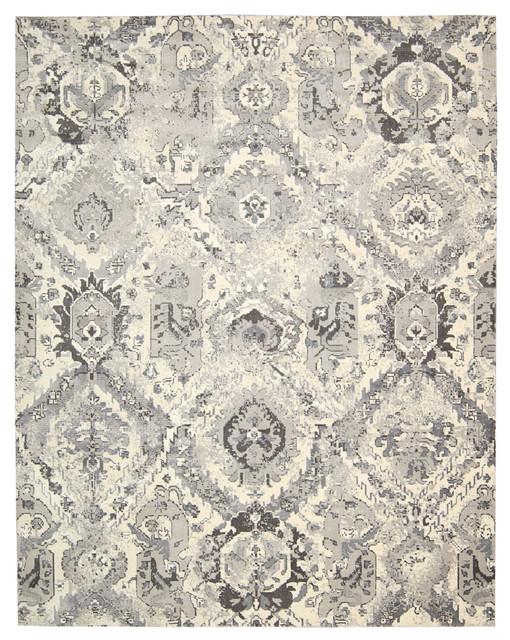 Nourison Twilight Floral Grey and Ivory Rug, 168x244 Cm