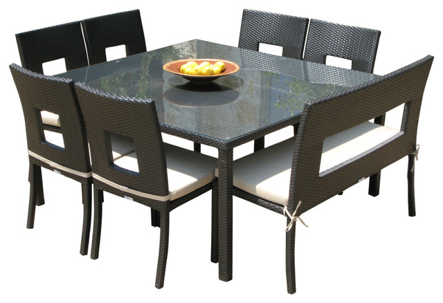 Outdoor Wicker Resin 8-Piece Square Dining Table Chairs and Bench Set  sc 1 st  Houzz & Outdoor Wicker Resin 8-Piece Square Dining Table Chairs and Bench ...