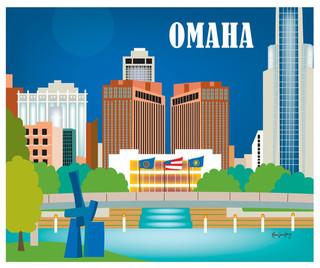 Omaha Nebraska Horizontal Skyline Print Modern Home