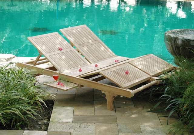 acapulco double teak lounger gl06dss contemporary outdoor chaise lounges by teak wood. Black Bedroom Furniture Sets. Home Design Ideas