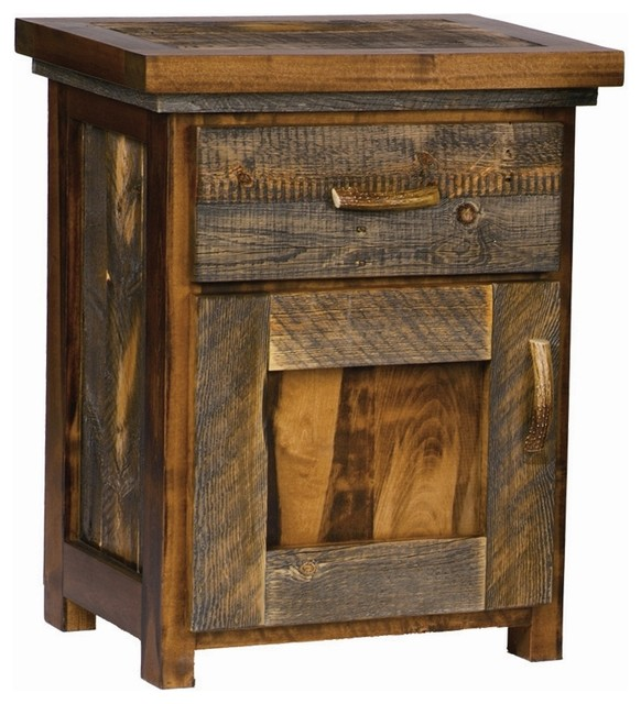 Rustic Wood Nightstand W Door Contoured Aspen