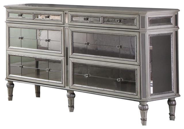 Emory Antique Cream With Mirrored Dresser.