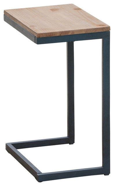 info for c7a14 1ba06 GDF Studio Amaya Outdoor Antique Firwood C-Shaped Accent Table