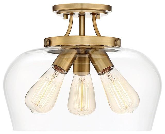 Savoy House Octave 3-Light Semi Flush, Warm Brass.