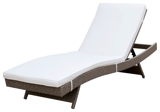 Celsa Contemporary Adjustable Patio Chaise, White And Gray.