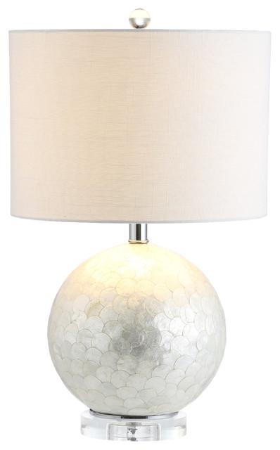 "Zuri 23.5"" Capiz Seashell Sphere Base, Pearl/white."