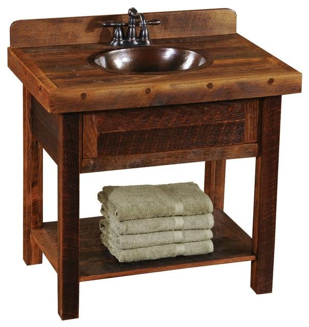 Barnwood Freestanding Open Vanity With Shelf Artisan Top Rustic Bathroom Vanities And Sink Consoles By Rustic Deco Houzz