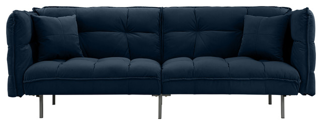 Modern Home Furniture Velvet Splitback Sleeper Futon Sofa, Navy.