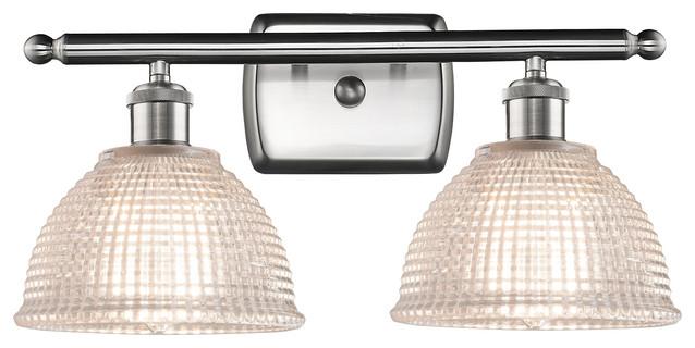 Arietta 2-Light Bath Vanity-Light, Brushed Satin Nickel, Clear