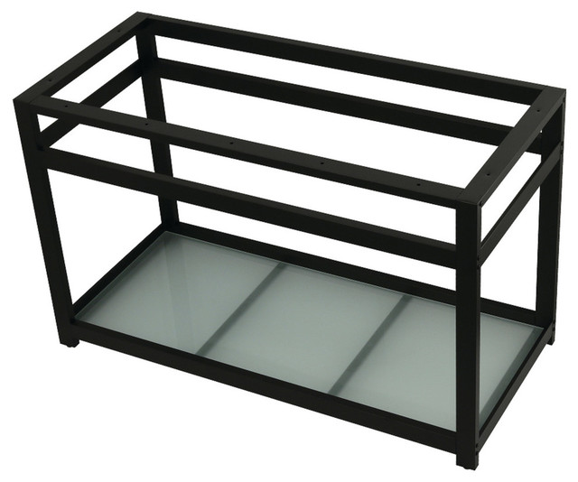 "Vsp4922b0 49""x22"" Console Sink Base With Glass Shelf, Matte Black."