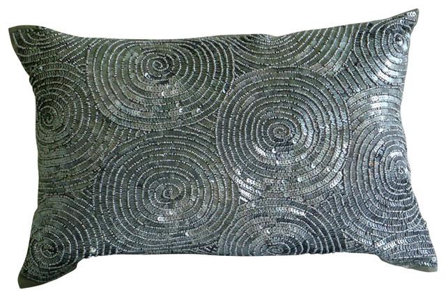 Modern Decorative Lumbar Pillows : The HomeCentric - Spiral Sequins Silver Art Silk Lumbar Pillow Cover, Silver Touch & Reviews Houzz