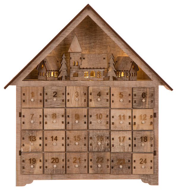 "14.17""l Wooden Led Countdown Farmhouse."