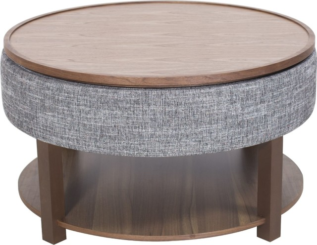 Neville Lift Top Round Coffee Table With Storage, Ash Gray, Walnut