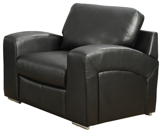 Chair Black Bonded Leather Transitional Armchairs