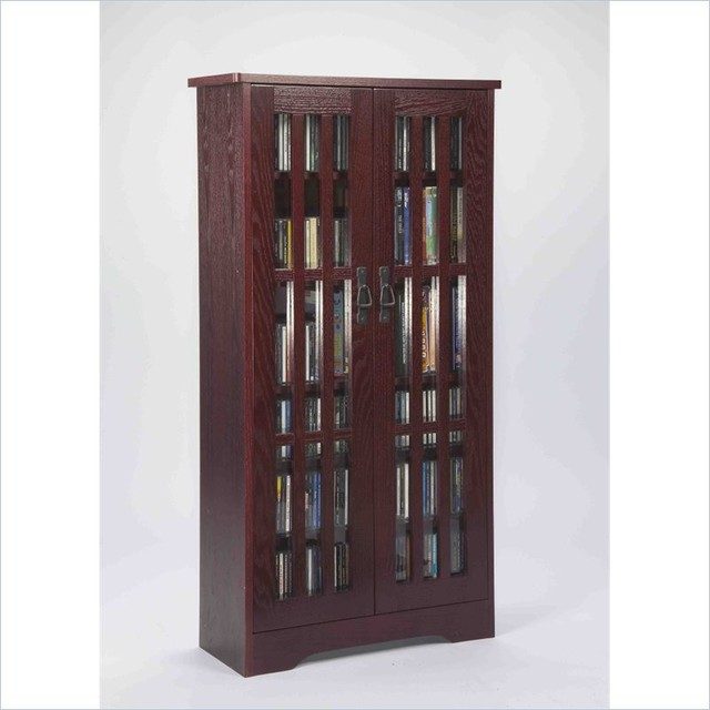 Leslie Dame 62 Inch Tall CD/DVD Media Storage Cabinet in Dark Cherry - Transitional - Media ...