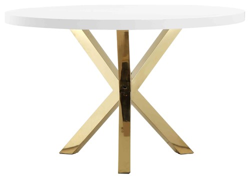 Gold Collin Round Dining Table, White & Gold Combo