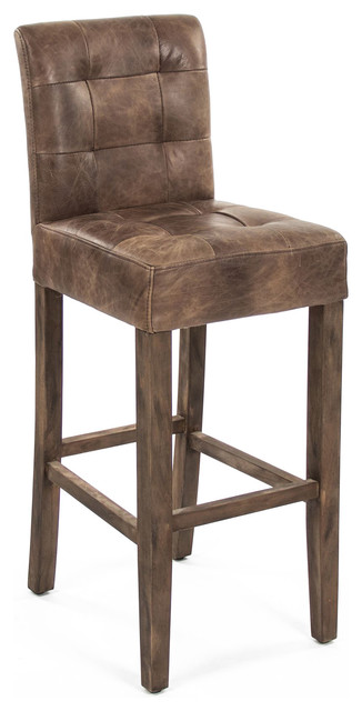 Sigmund Rustic Lodge Tufted Brown Leather Bar Stool