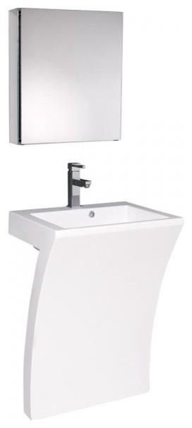 Fresca Quadro White Pedestal Sink Bathroom Vanity by Fresca