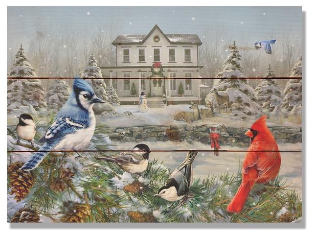 Giordano S Winter Birds Indoor Outdoor Cedar Wall Art 15x11