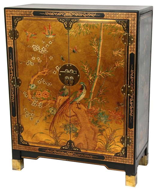 Oriental Furniture Gold Leaf Nestling Birds Cabinet