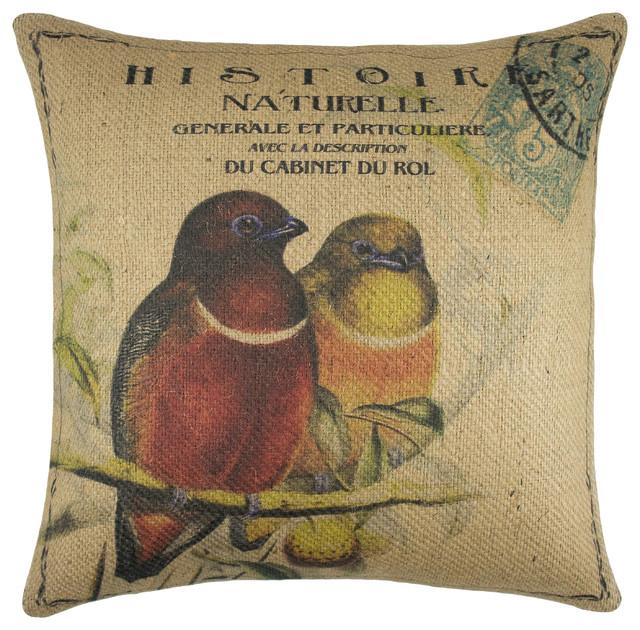 Birds On Branch Burlap Pillow.