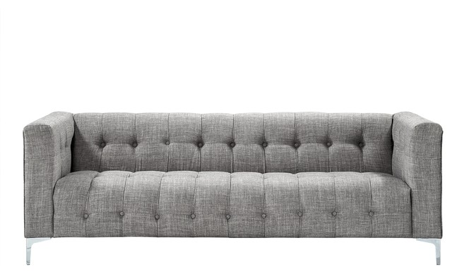Cathy Linen Modern Contemporary Button Tufted Metal Y-Leg Sofa, Gray.