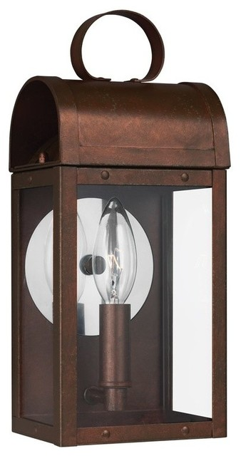 Sea Gull Conroe 1-Light Outdoor Wall Lantern, Weathered Copper - 8514801-44.