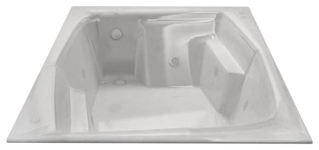 Botticelli Rectangular Drop-In Bathtub, Whirlpool, Right Drain.