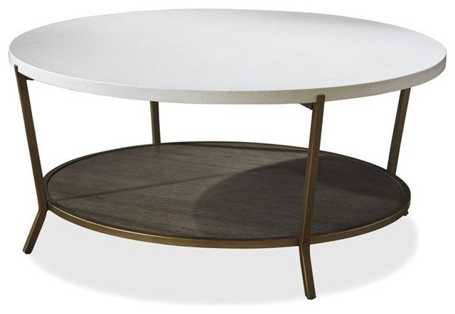 Transitional Coffee Tables universal furniture playlist round coffee table in brown eyed girl